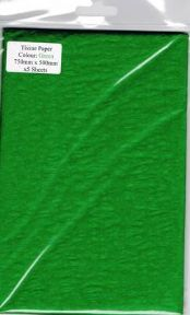 5 x Green Tissue Paper, Large Sheets - 750mm X 500mm - SC64